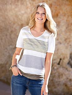 Efixelle - Shirt van 100% linnen met afgeronde V-hals
