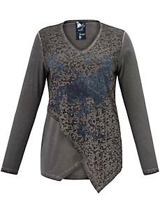 FRAPP - Lang shirt in een mix van materialen