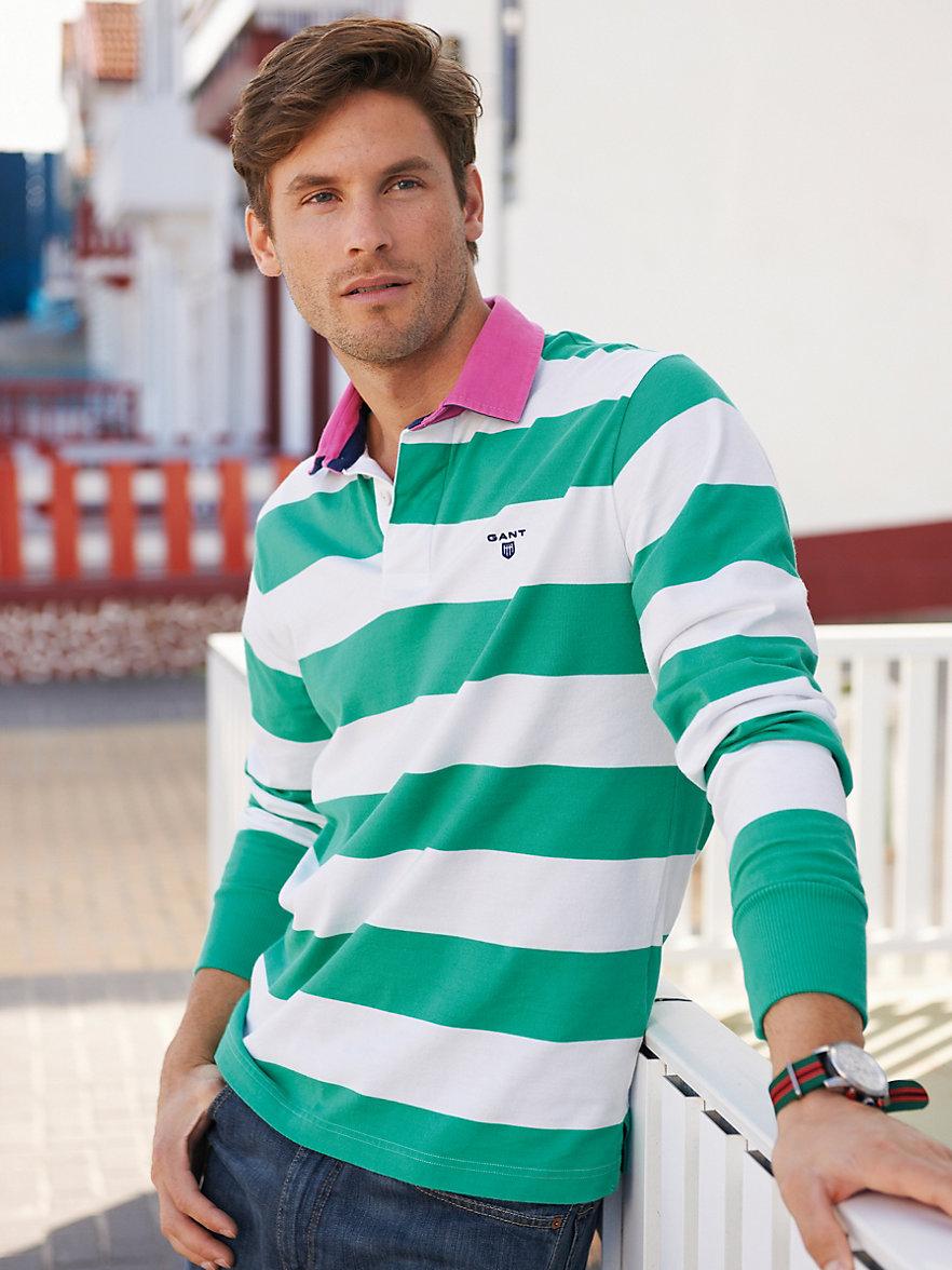 Gant   rugbyshirt   groen/wit