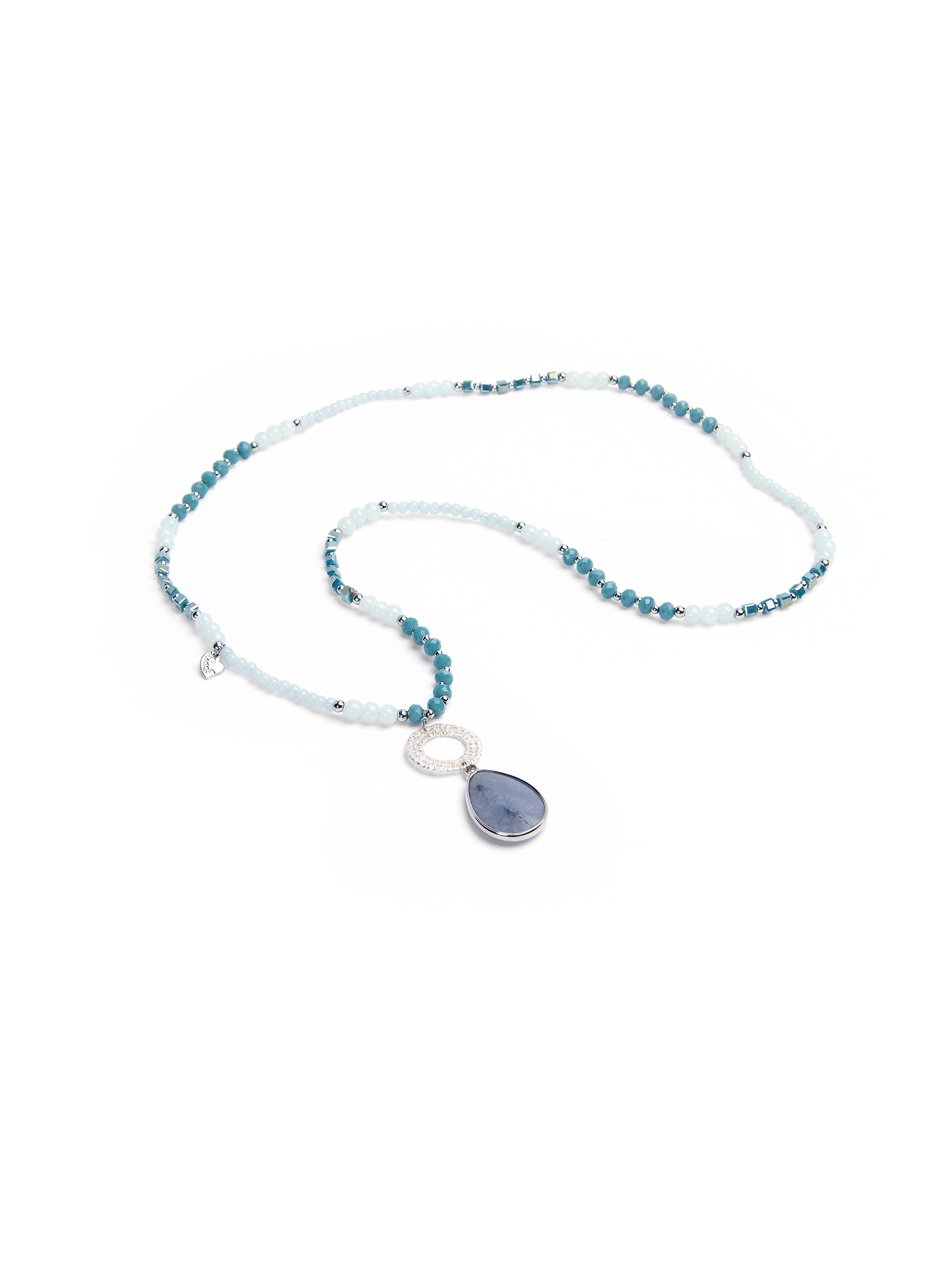 Ketting van peter hahn, in frisse zomerkleuren met elementen van glas, metaal en natuursteen. lengte van de ...